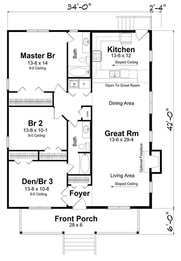rectangle house plan with 3 bedrooms. no hallway to maximize space