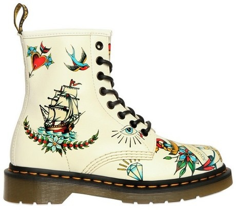 Dr. Martens 30mm Louie Calf Tattoo Boots in Beige (tattoo) - These are MAGNIFICENT!