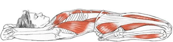 Supta Virasana (reclining hero pose) via Leslie Kaminoff