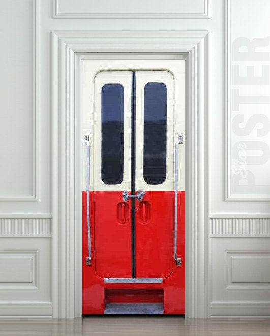 "Door STICKER railway facilities metro rail carrierstation mural decole film self-adhesive poster 30x79""(77x200 cm) /"