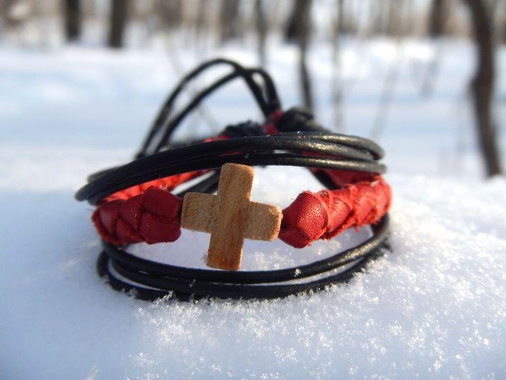 Red leather bracelet Small cross, Кожаный плетеный браслет Крестик by RozaBracelets on Etsy