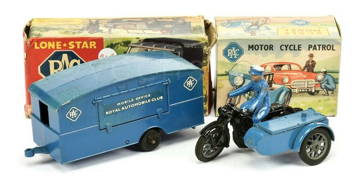 Lone Star and Benbros RAC Models (1) Lone Star RAC Series Mobile Office Caravan, some paint discolouration but complete with opening hatch - Fair to Good; (2) Benbros RAC Motorcycle Patrol with Sidecar and Figure, opening lid, lacks aerial, rack and one handlebar - otherwise Fair in a Good to Good Plus illustrated boxes. (2)  Price realised: £60