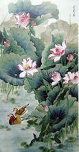 Бесплатная доставка традиционный китайский лотос пейзаж печать на холсте картины маслом на холсте домашнего стены искусства украшения картины(China (Mainland))