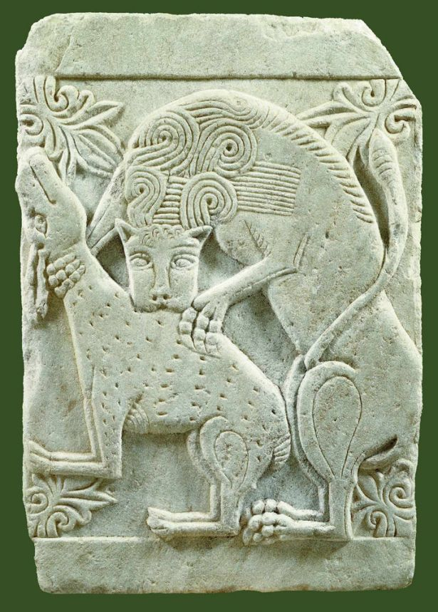 Marble closure slab with relief representation of deer being torn apart by lion, Late 10th-early 11th c., Athens | Byzantine and Christian Museum