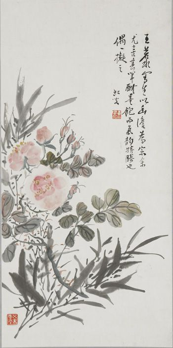 Roses and Bamboo | 1943 | Huang Binhong (Chinese, 1865-1955) | Modern period | Ink and color on paper | Beijing, China | Gift of Arthur M. Sackler | Arthur M. Sackler Gallery | S1987.246