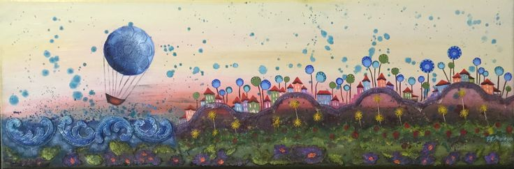 "Mixed media and oil painting 60x20 cm ""let the fairytale begin"""