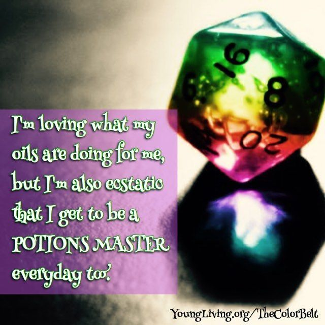 I'm loving what my oils are doing for me, but I'm also ecstatic that I get to be a POTIONS MASTER everyday too.  Start feeling like a Wizard today! Get your Premium Starter Kit here: http://www.youngliving.org/thecolorbelt 💜💧💙💧💚💧💛💧❤️ #EssentialOils #YoungLiving #younglivingessentialoils #yleo #younglivingrocks #younglivingmember #younglivinglover #wellbeing #health #10367971 #TheColorBelt #MissMaryPotter #potions #magic #healthyfun #dnd #dragons #wizards #dice 💜💧💙💧💚💧💛💧❤️…