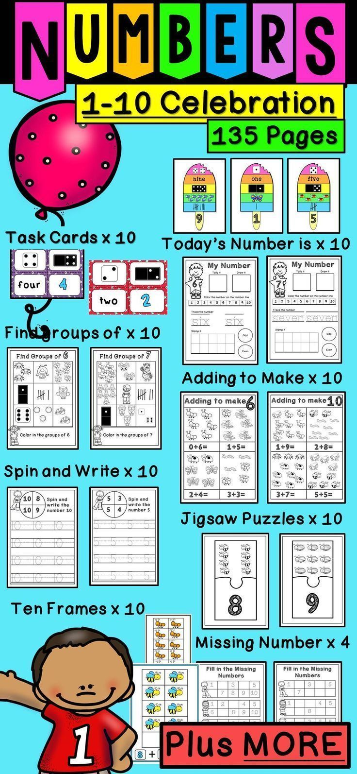 Numbers 1-10 135 Page Bundle Task Cards Games Worksheets Puzzles ...