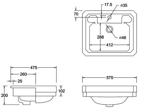 Burlington Classic Semi Recessed 58cm Basin - B12 at Victorian Plumbing UK
