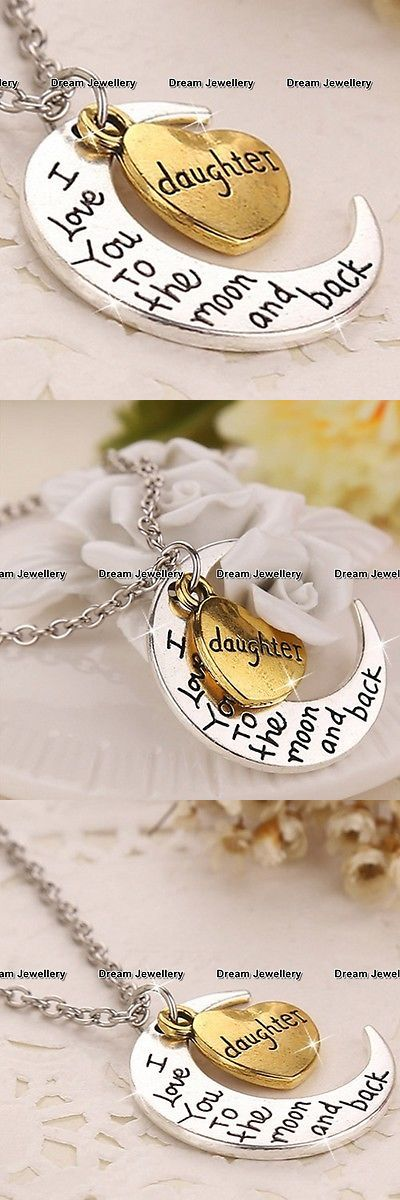 Christmas Gift Ideas: Gold Heart And Silver Moon Necklace Xmas Gifts For Her Girls Women Daughter Sis V4 BUY IT NOW ONLY: $7.95