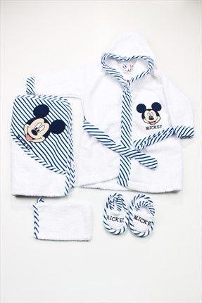 Erkek Bebek Mickey Mouse Bornoz Set 1225-MB DİSNEY | Trendyol
