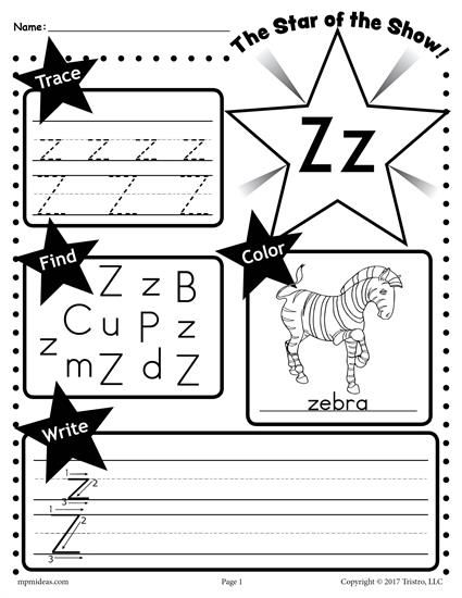 Free letter z worksheet tracing coloring writing more