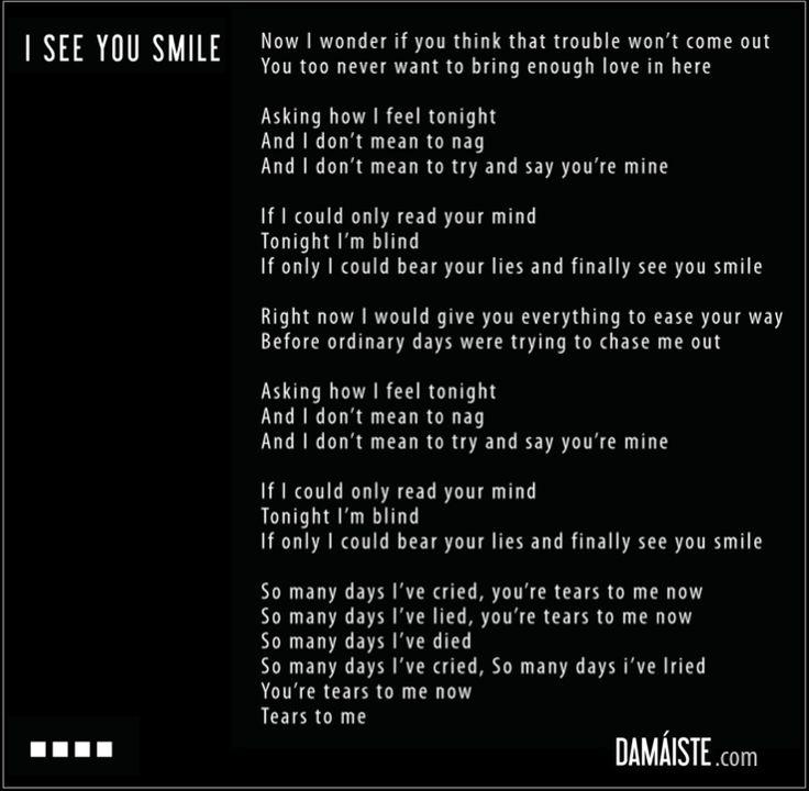 """I see you smile"" lyrics - Damaiste  Love you all - W.Y.S.I.A.T.I."