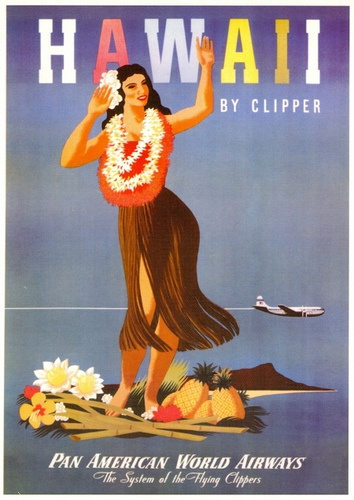 Hawaii by Clipper  Circa: 1950. Artist: unknown  Tourism advertisement postcard    Pan American Airways System