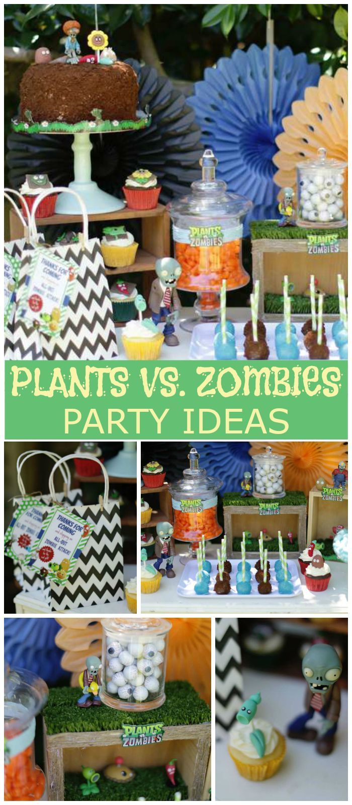 What a cool Plants vs. Zombies party with all the fun characters! See more party ideas at CatchMyParty.com!