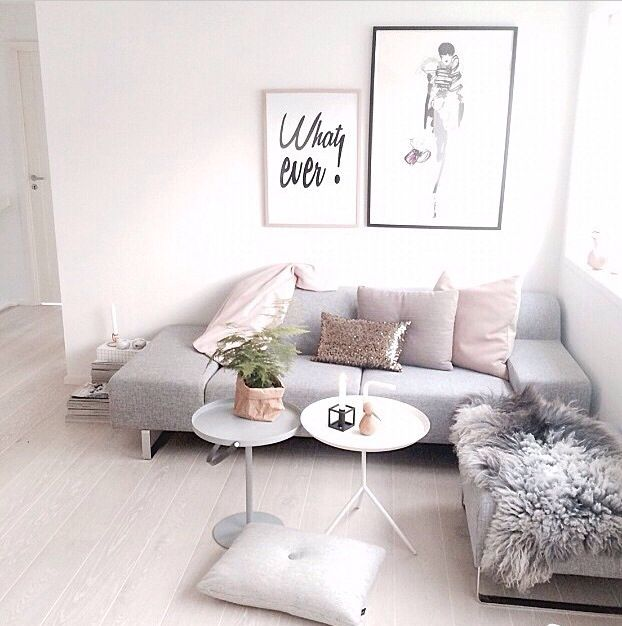 pink and gray living room