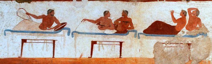 L'ARTE GRECA IN ITALIA PAESTUM: SCENA DI UN BANCHETTO  DALLA TOMBA DEL TUFFATORE (PARTICOLARE, 480-470 A.C.).  Nell'estate del 1968 fu rinvenuto in una tomba di Paestum un  affresco  estremamente importante, perché ci fa conoscere la pittura murale greca del V secolo a.C #art,#canvas #history #grecia #greca #affresco