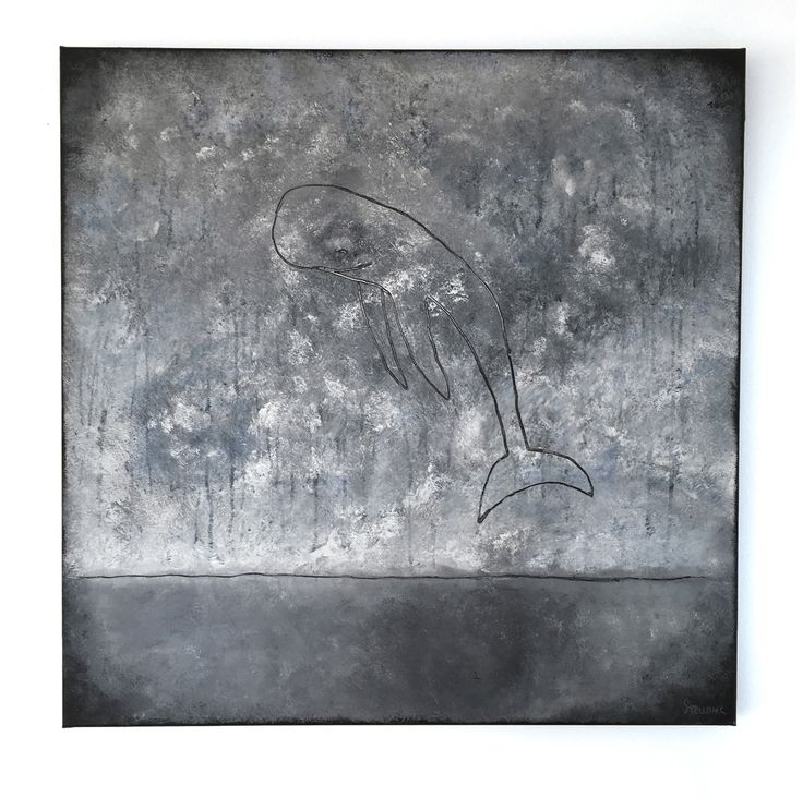 """When whales dream 1"" 80x80cm by Stellan Kristiansson"