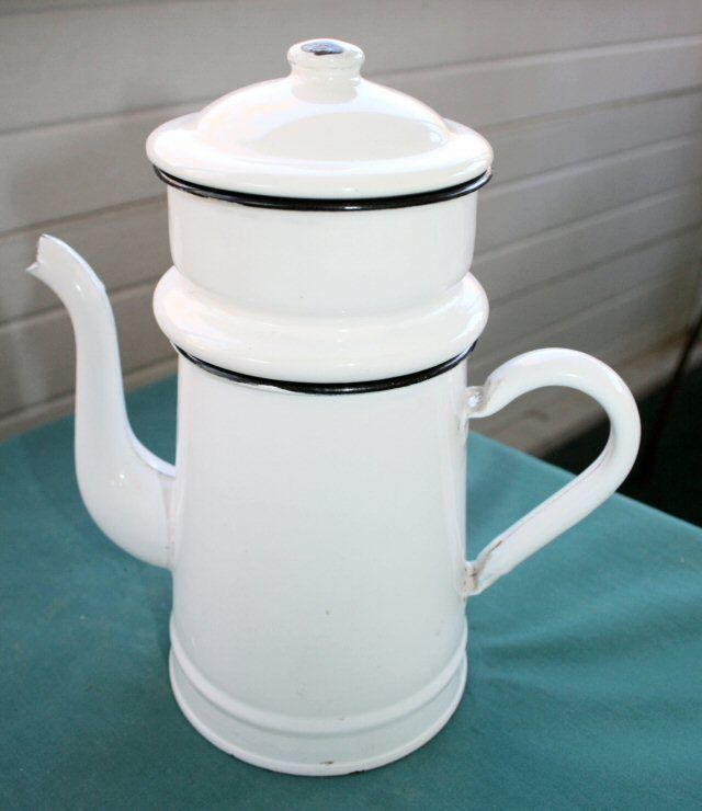Drip Coffee Maker Meaning : Vintage French Drip White Enamel Enamelware Coffee Pot Made in Belgium French, Enamels and Belgium
