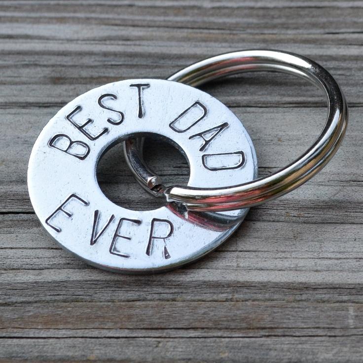 """Handstamped Keychain """"Best Dad Ever"""" $12"""