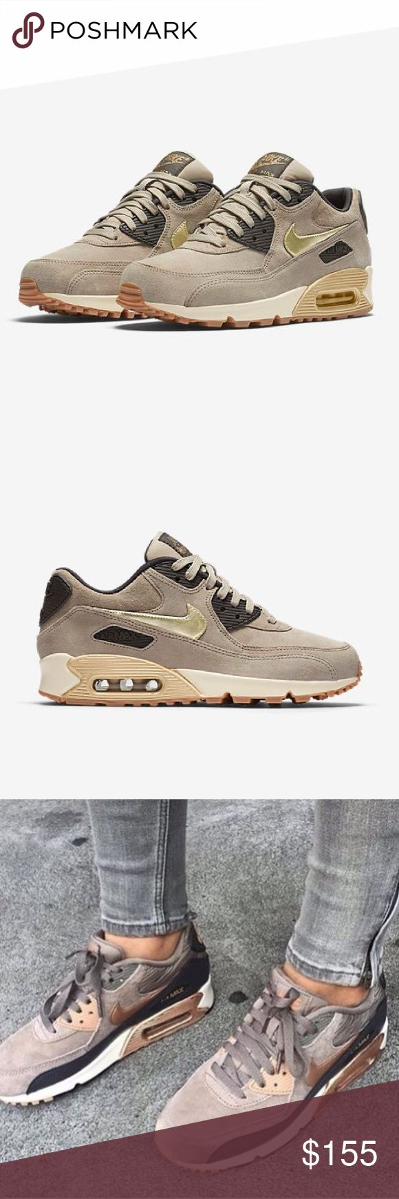 NIB Nike Air Max 90 Premium Suede Brand new in box, Nike air max 90 premium in rose gold / taupe. So beautiful but too wide/big on my feet. I am in between an 8.5-9. Only tried on. No trades. Sold out online! Nike Shoes Sneakers