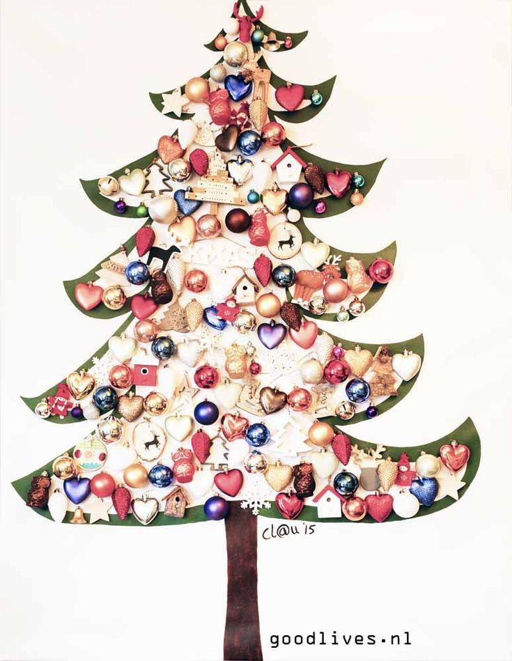 Alternatieve kerstboom op doek DIY, #christmas #kerst