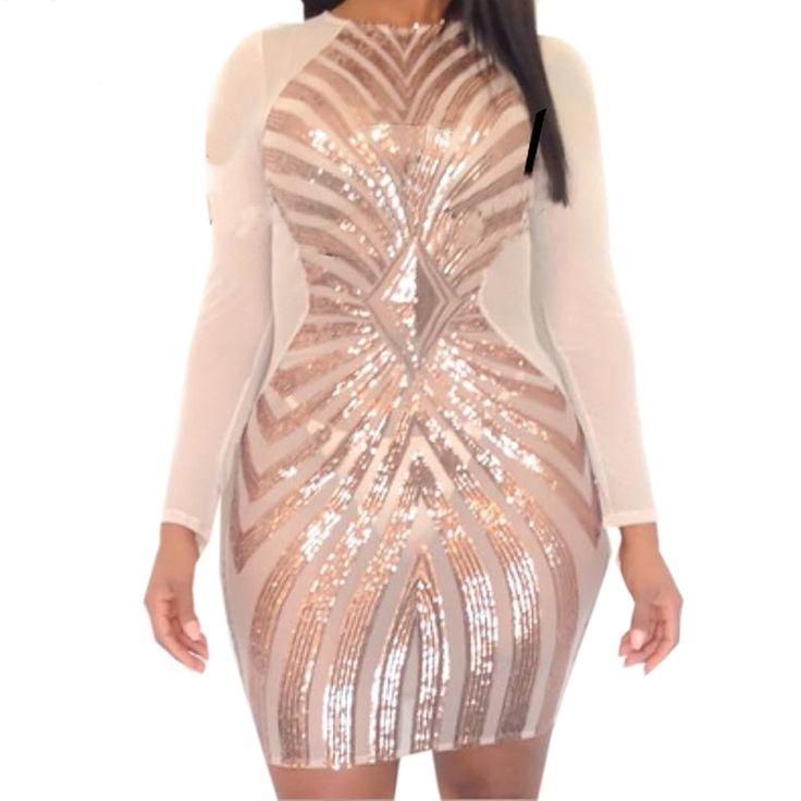 Rose Gold Sexy Plus Size Bodycon Dress Women Sequin Geometric Pattern Dress (XL- Rose Gold) – CR17YKSTMH2