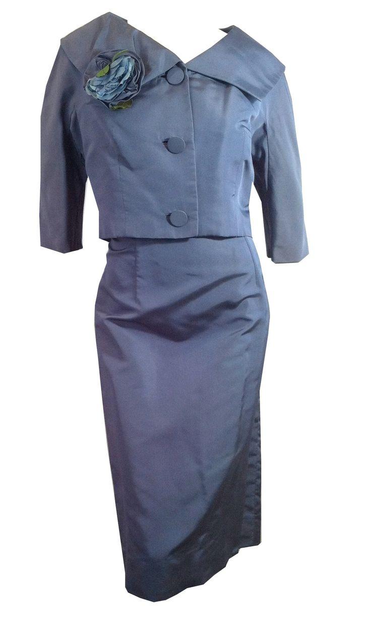 Steel Blue Silk Dress w/ Jacket and Flower Accent circa 1950s