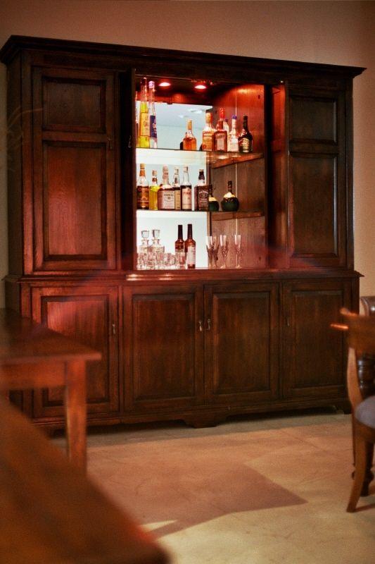 Hampton 8 Door Liquor Cabinet -- French Oak-- Retractable Cabinet Doors -- Glass Shelves w/ LED Lighting