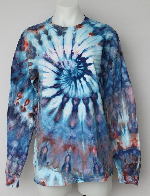 $40 - Tie Dye long sleeve t-shirt Unisex ice dyed by ASPOONFULOFCOLORS Find this item on https://www.etsy.com/shop/ASPOONFULOFCOLORS?ref=hdr_shop_menu