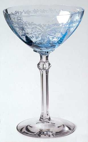 Fostoria June Blue Champagne Sherbet Glass Elegant Glassware