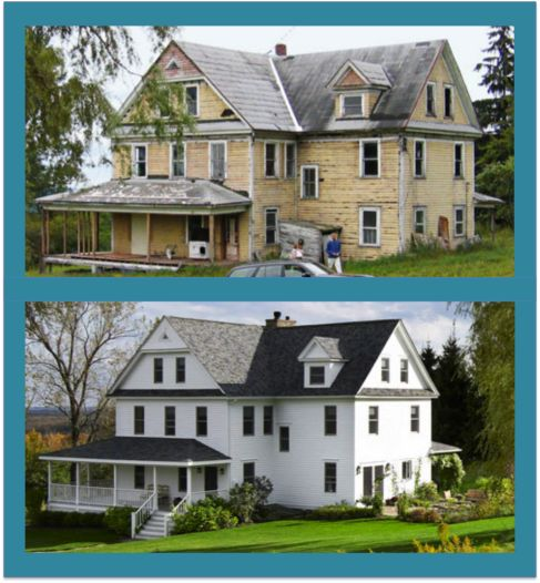 A dilapidated farmhouse comes back to life with new windows, clapboard, and a rebuilt porch