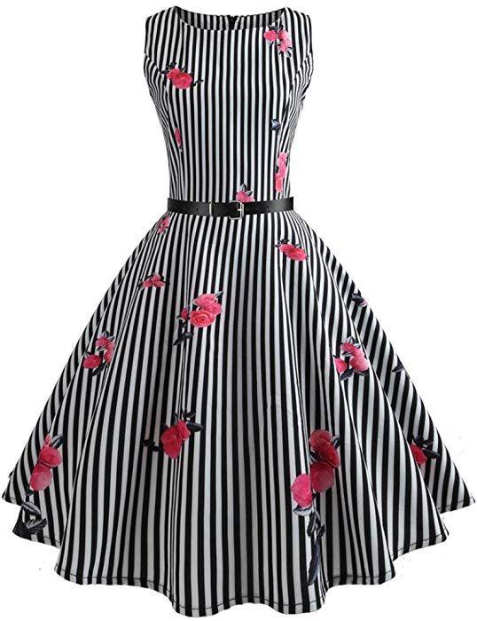 Vectry Kleider Damen Rockabilly Kleid Elegante Kleider Lange Kleider Frauen  Sommer Festliche Damenkleider Knielang - Damen Vintage Body… e8cb444c07