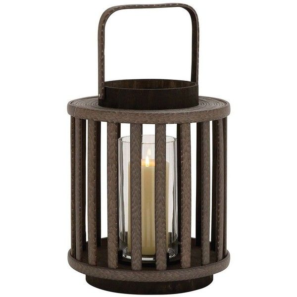 Round Lantern Candle Holder ($100) ❤ liked on Polyvore featuring home, home decor, candles & candleholders, brown, colored candles, round candles, colored lanterns, brown candles and round candle holders