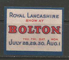 GB/UK Bolton Royal Lancashire Show poster stamp/label