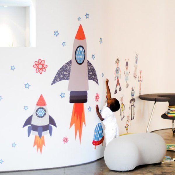 Vinilo Infantil 'Cohetes Espaciales'   Pop and Lolli   Vinilos infantiles Bebabe.es