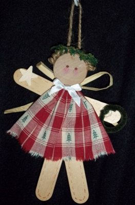 Craft Stick Angel Ornament-Christmas Tree
