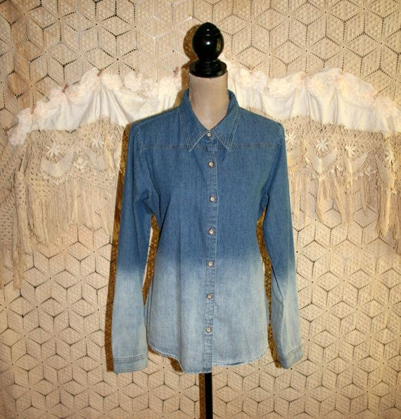 Womens Long Denim Shirt Large Fitted Ombre Long by MagpieandOtis