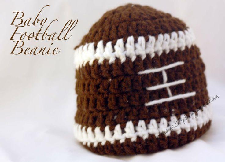 Crochet Pattern Baby Hat Free : Baby Football Beanie {Tutorial} Crochet Pinterest