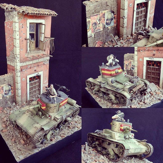 "Beautiful ""Spanish Civil War"" diorama. Modeler  Witold Socha #scalemodel #plastimodelismo #miniatura #miniature #hobby #maqueta #maquette #modelismo #modelism #modelisme #plastickits #usinadoskits #udk"