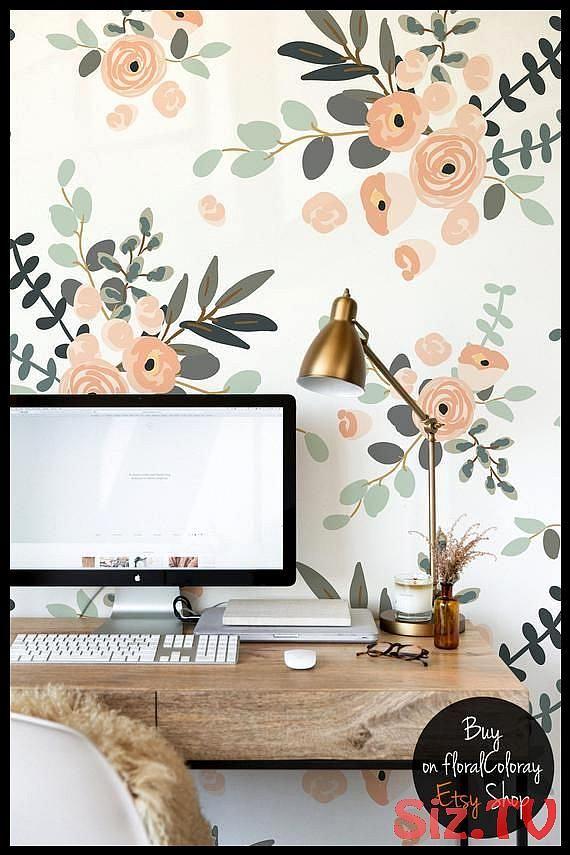 Pastel Flowers Removable Wallpaper Roses Wall Mural Self Adhesive Vivid Wall Decor Handdrawn Flowers Wallpaper Peel A Rose Wall Removable Wallpaper Wall Murals