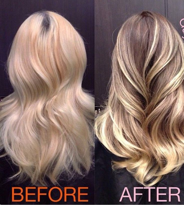 bleached blond hair with the dark roots, sun and silver ,add a little brown lowlights to tone it down for fall
