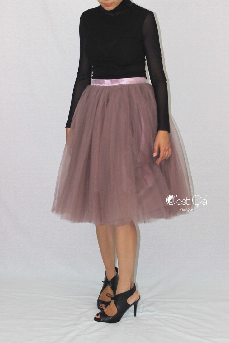 A personal favorite from my Etsy shop https://www.etsy.com/listing/222559931/colette-purple-gray-tulle-skirt-below
