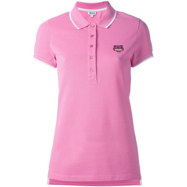 Kenzo Mini Tiger Polo Shirt ($122) ❤ liked on Polyvore featuring tops, side slit top, pink polo shirts, kenzo, short sleeve polo shirts and mini top