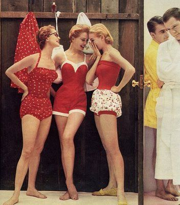 I wish all bathing suits still looked as cute as this.: Vintage Swimsuits, Red, Style, 1950S, Retro Swimwear, Vintage Bath Suits, Bathsuit, Bath Beautiful, Swim Suits