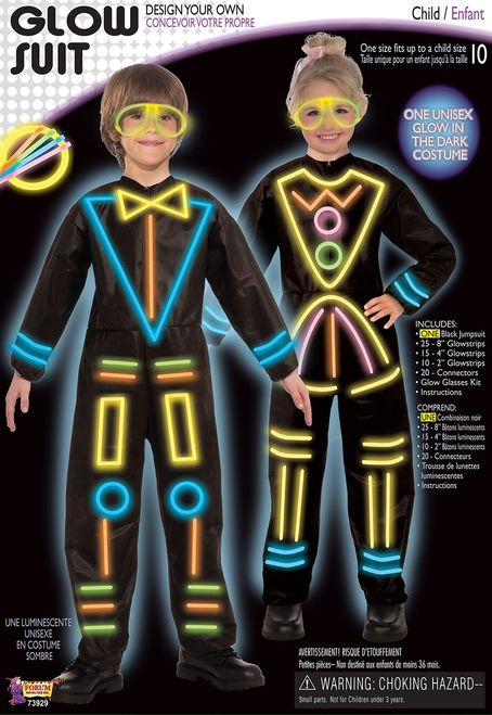 Kids Glow In the Dark Suit Costume - Add some unique parts to this costume and make it your own with this Glow in the Dark suit costume. It comes with black jumpsuit and all the glowsticks you need to make your own design. Great for Halloween, parties or glow in the dark bowling. #YYC #CAlgary #Costume