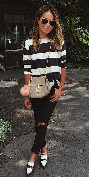 Chunky Stripes With Coordinated Loafers #Casual #look #mocasines #plano #shoes…