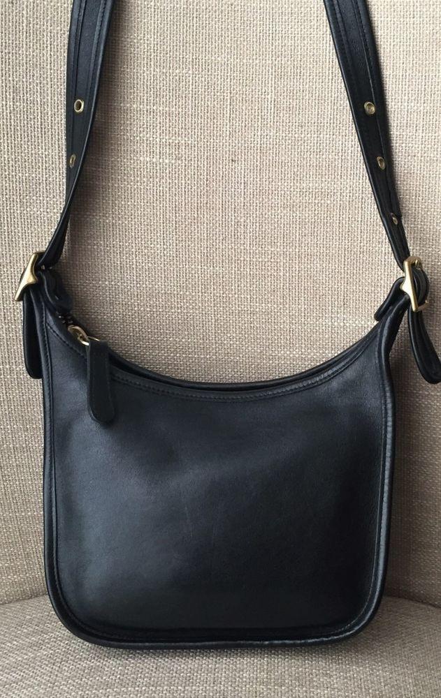 ed76fa630a Vintage Coach Janice Legacy Black Leather Cross Body Shoulder Bag Handbag  9950    Coach  Crossbody