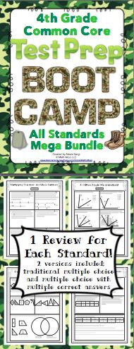 4th Grade Common Core Math Test Prep (Boot Camp Theme): Have a blast getting ready for testing with this boot camp theme test prep pack! This pack has a 1 page review for each standard and a 2 page review for each domain. It is aligned to the 4th grade Common Core Standards. There are multiple choice, short answer, and longer extended performance tasks. You can pick from traditional multiple choice or multiple selection (multiple choice questions with one or more correct answer choices)…