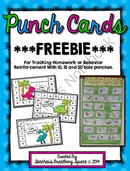 Classroom Reinforcement Ideas ~ Punch cards for homework behavior reinforcement